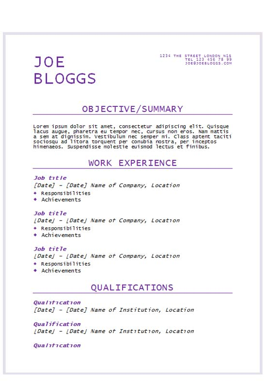 free purple flair text only cv resume template in microsoft word  docx