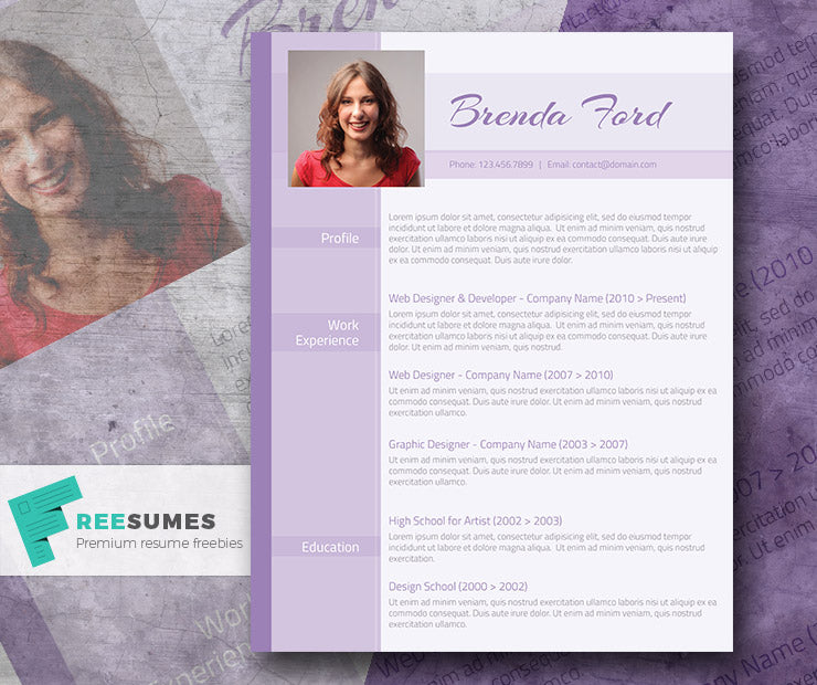free creative modern feminine photo cv resume template in microsoft