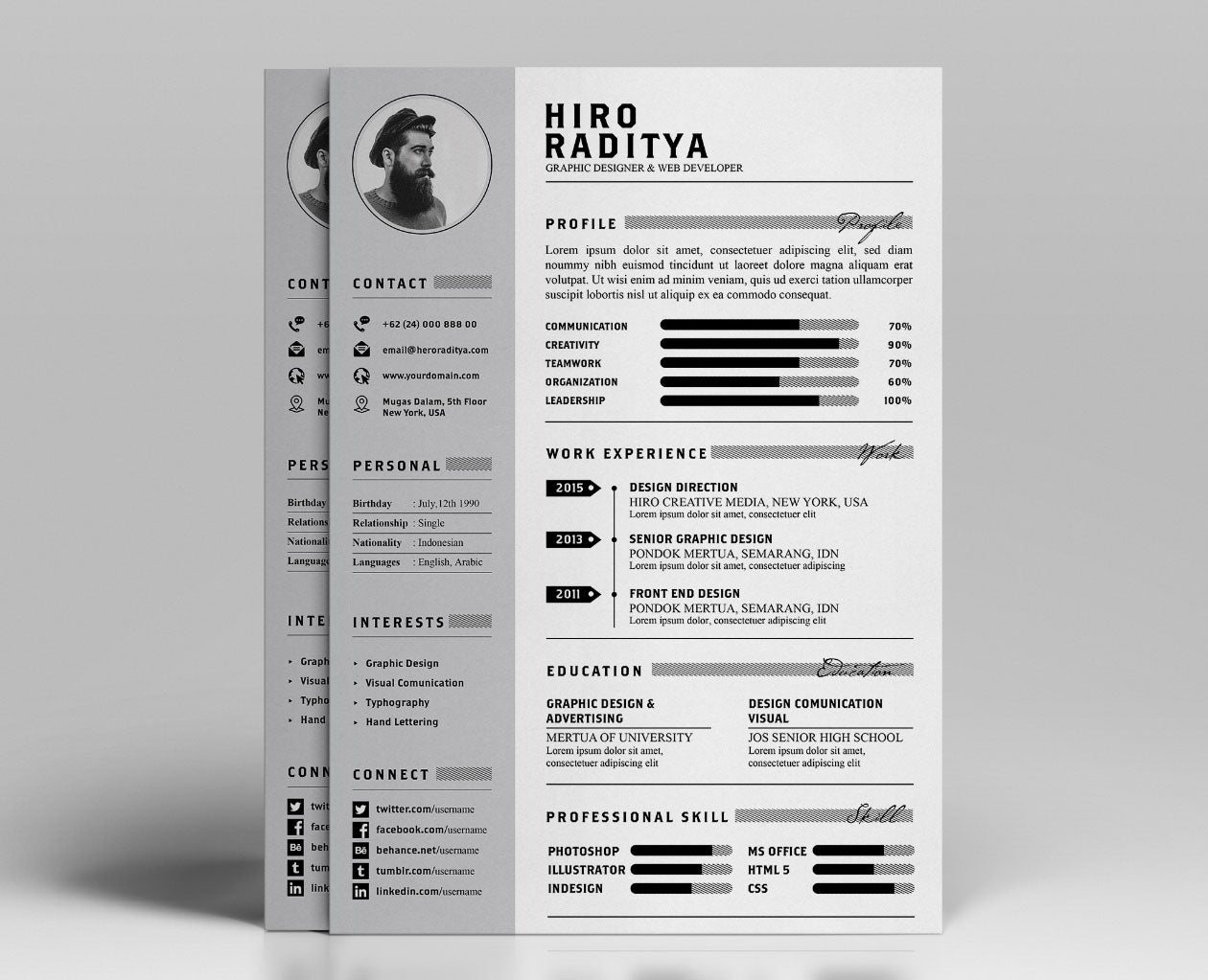 free resume  cv and portfolio template in photoshop  psd  and illustra