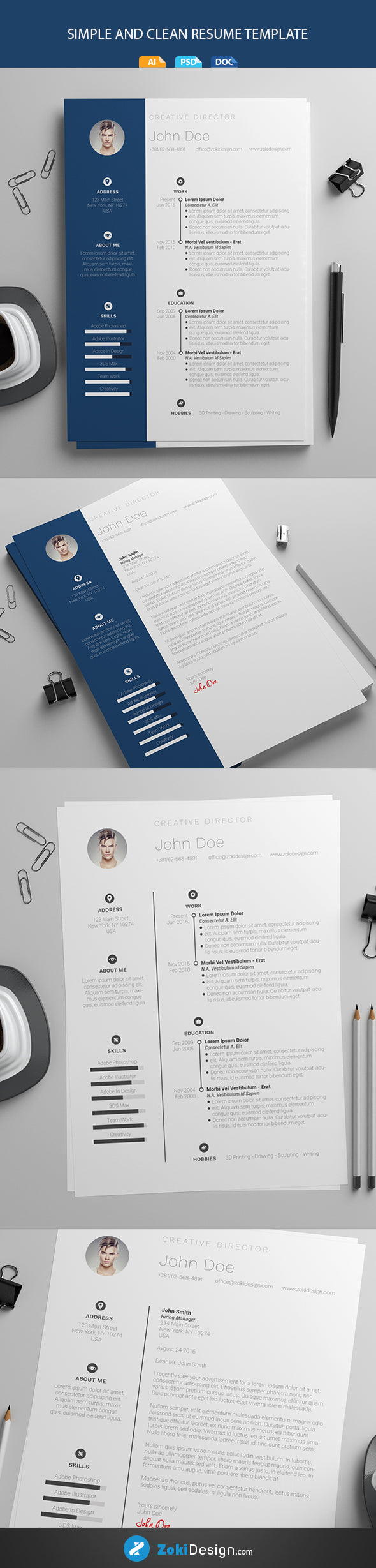 Free Clean Modern Resume And Cv Template In Microsoft Word Doc