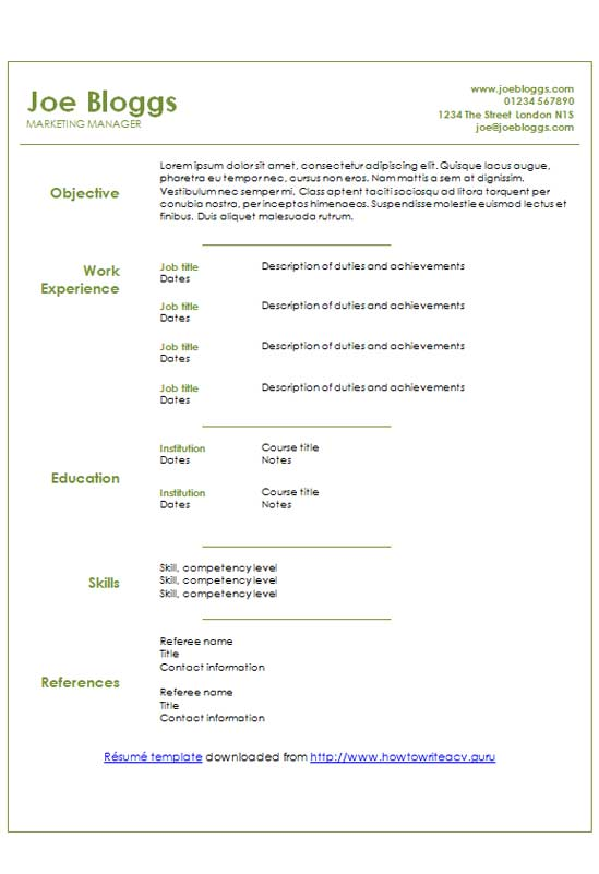 Free Sage Green Text Only Cv Resume Template In Microsoft
