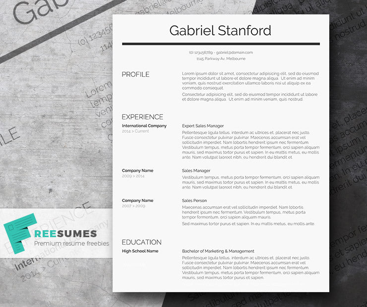 Free Classic Conservative Professional CV Resume Template In Clean Text Style Microsoft Word DOC Format