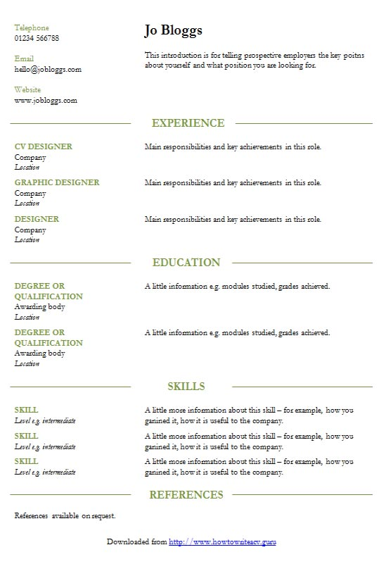 How To Format A Cv In Microsoft Word Free Download Cv Format