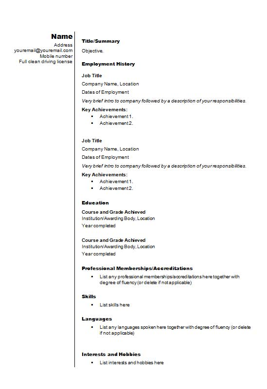 Free Stylish Text Onlycv Resume Template In Microsoft Word Docx
