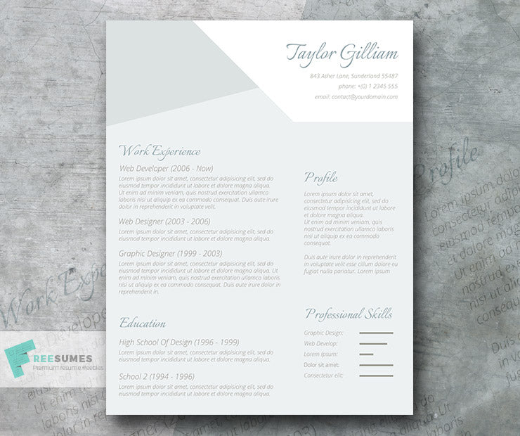 Free Modern Subtle Manager Cv Resume Template In Minimal Style In