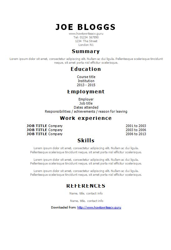 free tahoma simple text only cv resume template in microsoft word docx format