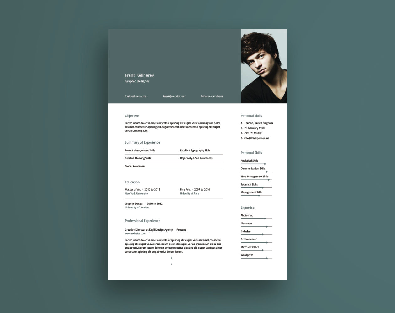 Free Creative Resume And Cv Template In Illustrator Ai Format