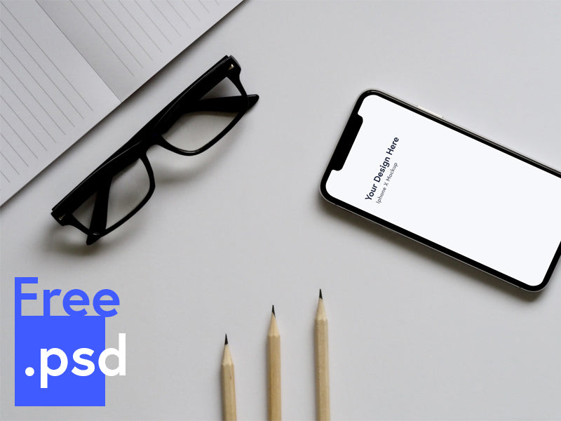 Free Iphone X Mockup On Table Psd Creativebooster