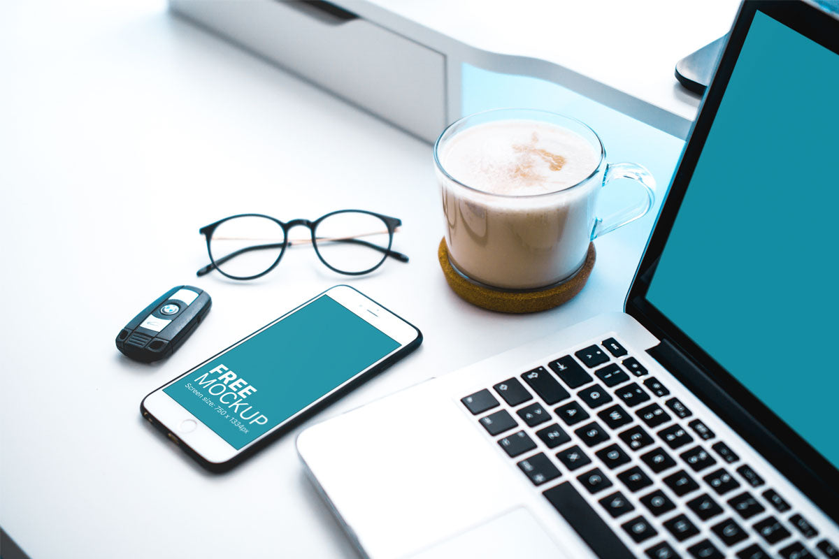 Free White Iphone 7 Mockup On Home Office Table Creativebooster