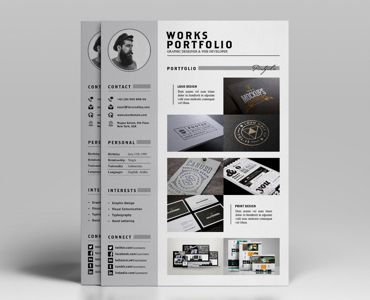 free resume  cv and portfolio template in photoshop  psd