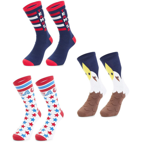 Patriotic Socks for Men, 4th of July Socks, Team USA (3 Pairs, US M 7-10)