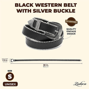 Black Western Belt with Silver Buckle (Unisex, Large)