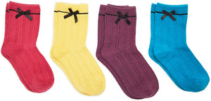 Ankle Socks with Bows for Women, Fun Gift Set in 7 Colors (One Size, 7 Pairs)