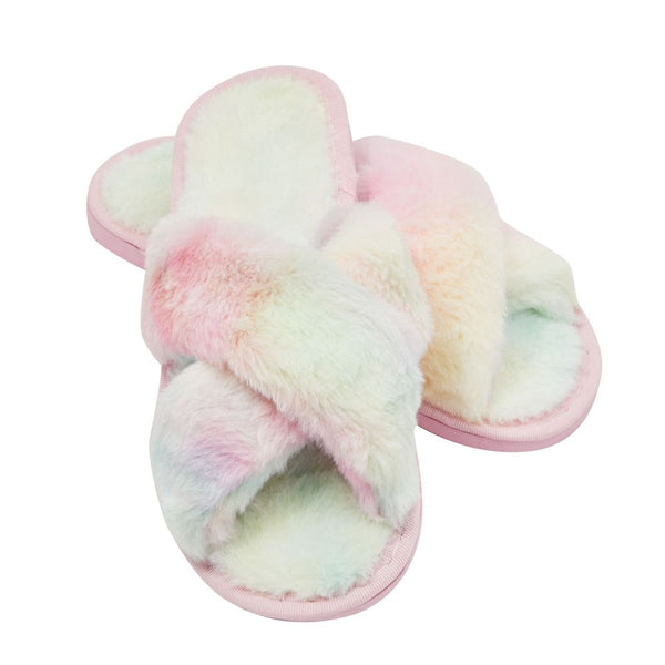 Fuzzy Tie Dye Colorful House Slippers (US Women's Size 7)