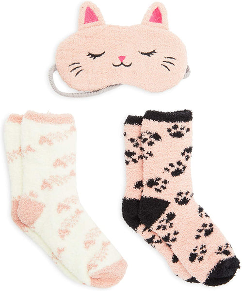 Fuzzy Socks with Cat Eye Cover for Women (US Size 9-11, Large, 3 Pieces)