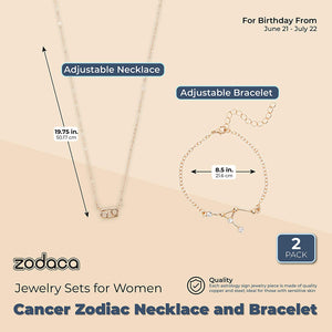 Cancer Zodiac Necklace and Bracelet, Astrology Jewelry Set for Women (2 Pieces)