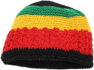 Zodaca Crochet Kufi Hats for Men, Rasta Beanie (7.5 x 5.75 in, 2 Pk)