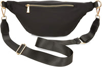 Plus Size Black Fanny Pack, Unisex Waist Bag with Adjustable Waistband 43-68 In