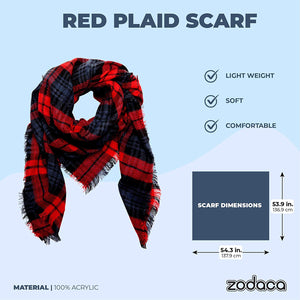 Red Plaid Blanket Scarf, Shawl Wrap for Women (53 Inches)