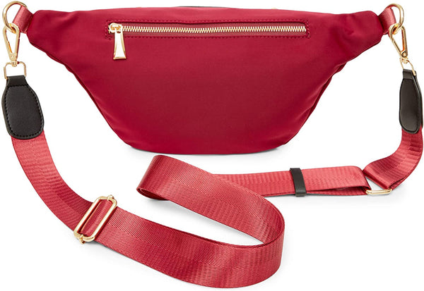 Plus Size Red Fanny Pack, Unisex Waist Bag with Adjustable Waistband 43-68 In