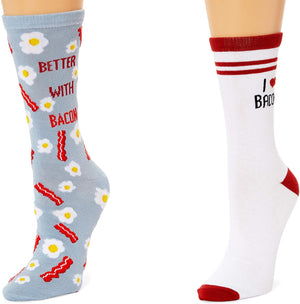 Bacon Crew Socks for Women, Fun Sock Gift Set (One Size, 2 Pairs)