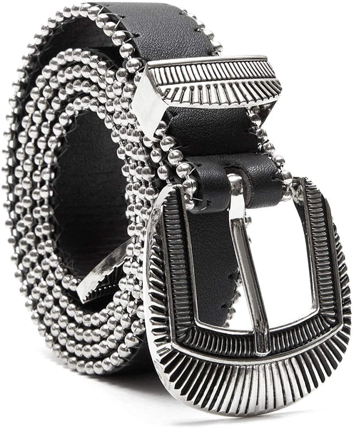Black Western Belt with Silver Buckle, Unisex (Size Medium)