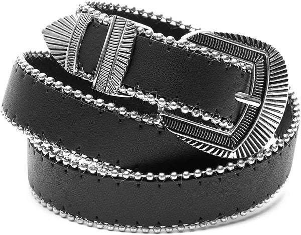 Black Western Belt with Silver Buckle (Unisex, Medium)