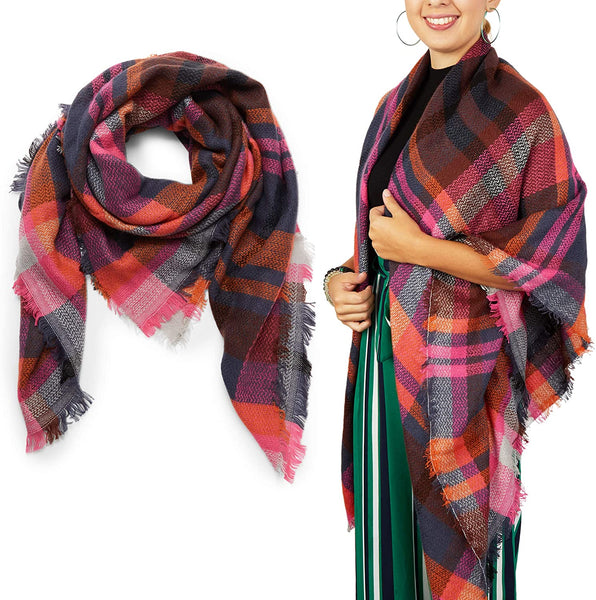 Red Plaid Blanket Scarf, Shawl Wrap for Women (53 x 53 In)