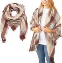 Brown Plaid Blanket Scarf, Shawl Wrap for Women (53 Inches)