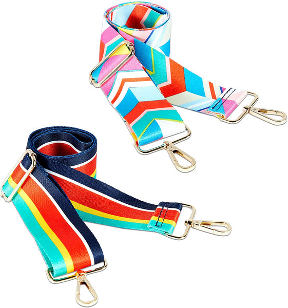 Adjustable Shoulder Strap Replacements for Bags (Rainbow, 2 Pack)