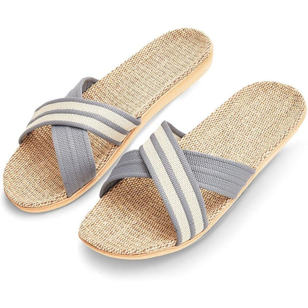 House Slippers for Men, Linen and Jute House Shoes for Men (M, 8-8.5, Grey)