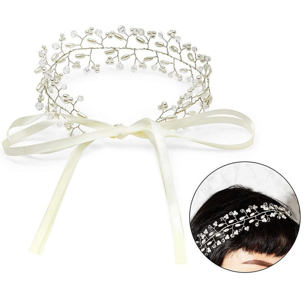 Pearl Bridal Headpiece, Crystal Headband (White)