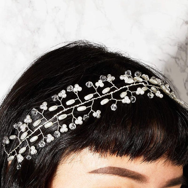 "Wedding Headpiece Pearl Crystal Decorated for Bride Bridesmaids 16"" Long Ribbon"