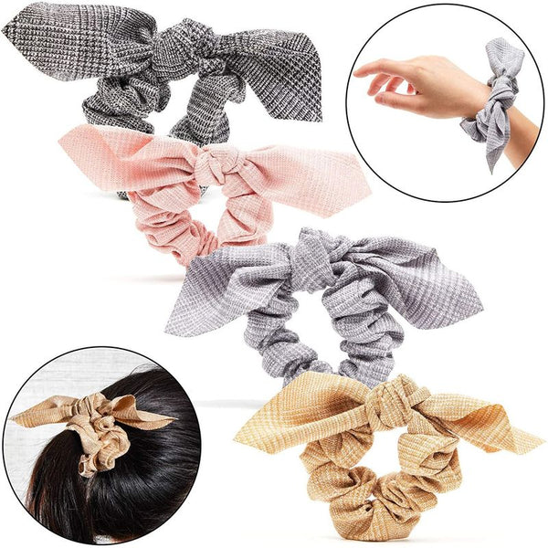 Plaid Bowknot Hair Scrunchies (4 Pack)