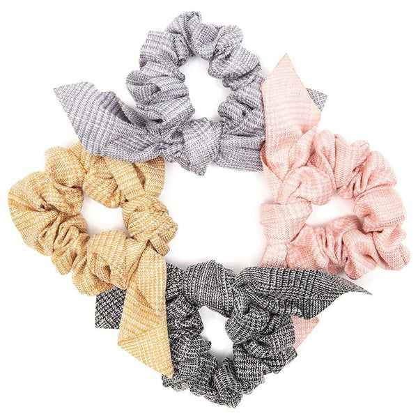 4-Piece Plaid Hair Scrunchies with Bowknot, Soft Elastic Hair Bands Ties
