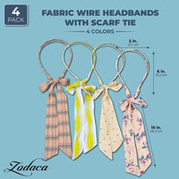 Fabric Wire Headbands with Scarf Tie in 4 Designs (4-Pack)