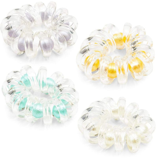 Clear Telephone Cord Hair Ties with Pearls (4 Pack)