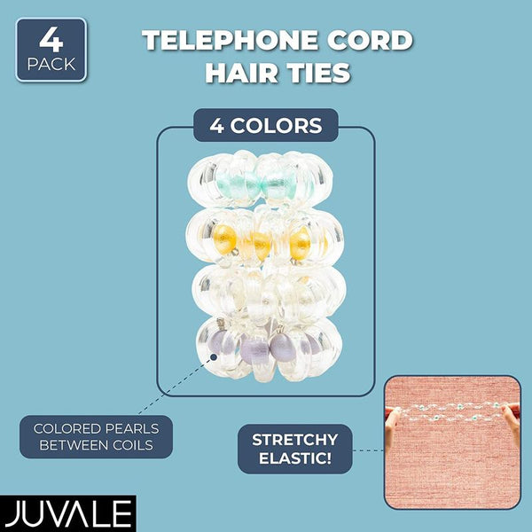 4-Piece Clear Spiral Hair Ties, Phone Cord Style Elastic Band, Pearls Decorated