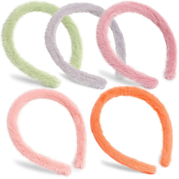 Furry Headbands for Women in 5 Colors (5-Pack)
