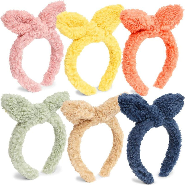Knotted Furry Headband with Bow for Women, 6 Colors (6-Pack)