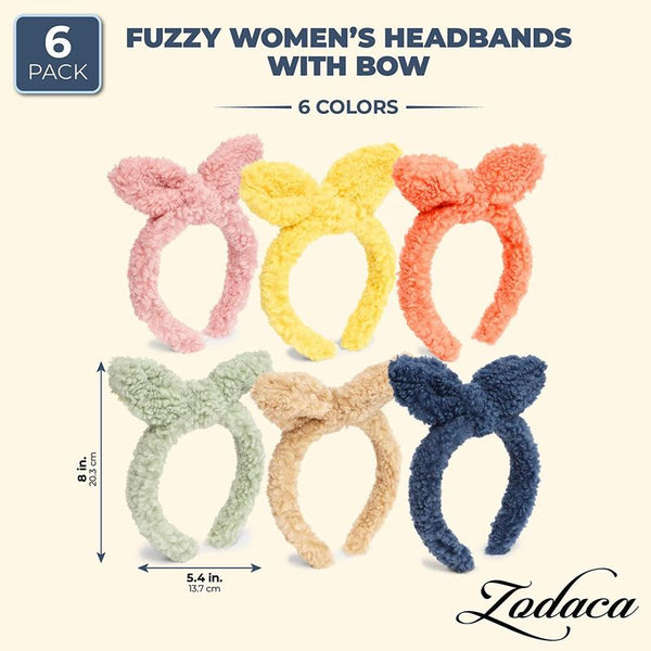 6-Pack Fur Fluffy Headband with Bowknot in 6 Colors for Parties, Winter, Holiday