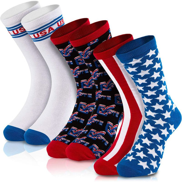 Patriotic Crew Socks for Voting, Election Day, July 4th (Adult Size, 3-Pair)