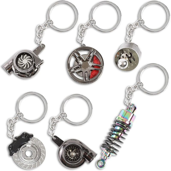 Zodaca Car Parts Keychain Set (Metal, 6 Pieces)