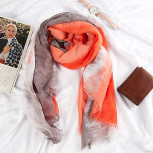 Women's Scarf, Lightweight Shawl Wrap in Tie Dye Pattern (33.5 x 71 Inches)