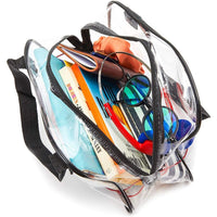 Clear Travel Handbag, Black Handles Stadium Approved Bag with Zipper (11 x 4 In)