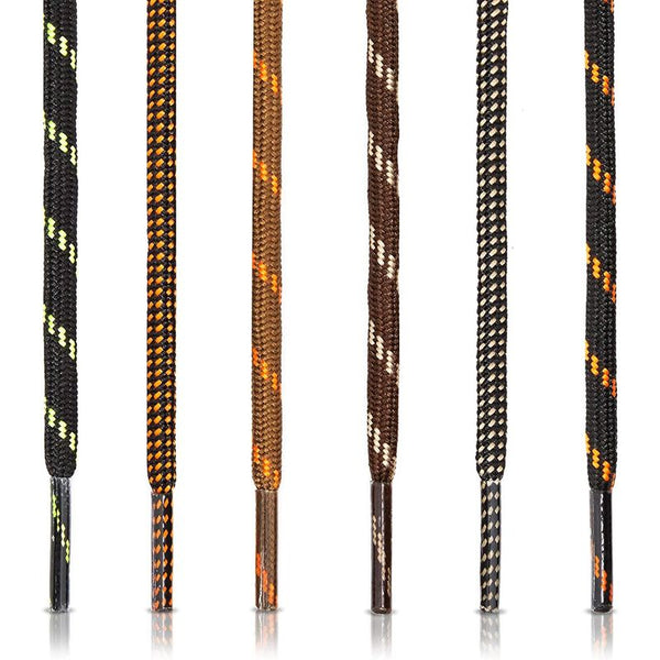 Durable Hiking Shoe Laces in Brown and Black (54 Inches, 6 Pairs)