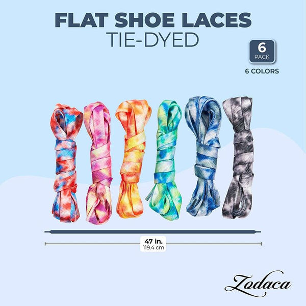 "6 Pairs 47"" Tie-Dyed Shoe Laces Flat Shoelaces Strings for Sneakers Skate Boots"