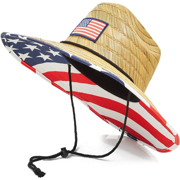 Zodaca Men's Straw Brim American Flag Beach Hat (Adult Size) Beige