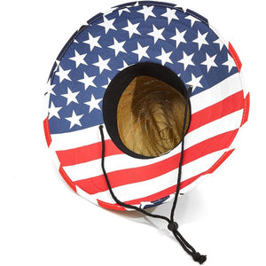 Men's Straw Brim American Flag Beach Hat for Lifeguards (Adult Size) Beige