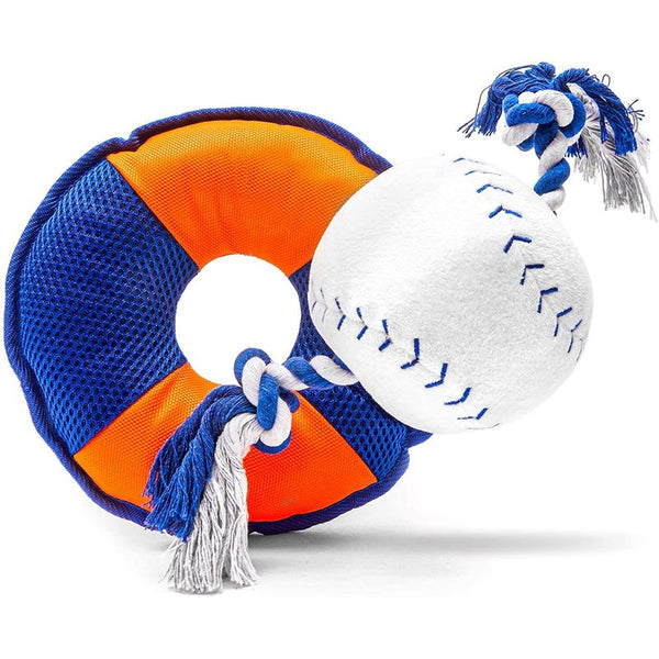 Zodaca Dog Toys Bundle, Baseball Plush with Rope and Crinkle (2-Pack)